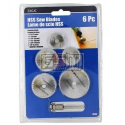 Набор дисковых пил для гравера HSS (22мм 25мм 32мм 35мм 44мм) хвостовик 3,2 мм