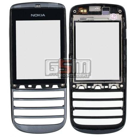 Тачскрин для Nokia 300 Asha, черный, с передней панелью