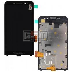 Дисплей для Blackberry Z30, черный, с сенсорным экраном (дисплейный модуль), с рамкой, (версия 3G)