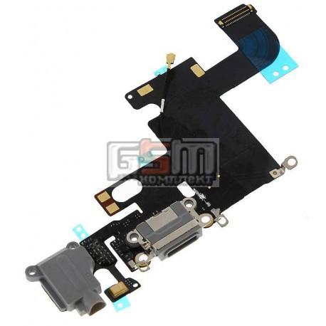 Шлейф для Apple iPhone 6, черный, коннектора зарядки, коннектора наушников, с компонентами, с микрофоном
