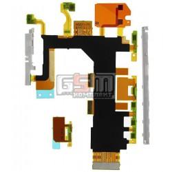Шлейф для Sony D6502 Xperia Z2, D6503 Xperia Z2, кнопки включения, боковых клавиш, звонка, с компонентами, с микрофоном