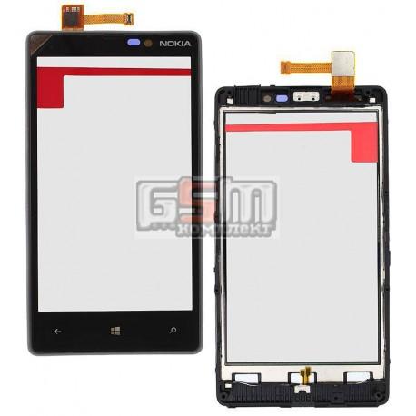 Тачскрин для Nokia 820 Lumia, черный, с передней панелью