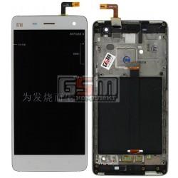 Дисплей для Xiaomi Mi4, белый, original (PRC), с сенсорным экраном (дисплейный модуль), с передней панелью