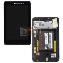Дисплей для планшета Lenovo IdeaTab A3500, черный, с сенсорным экраном (дисплейный модуль), с рамкой