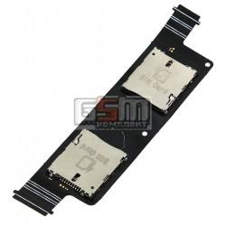 Коннектор SIM-карты для Asus ZenFone 4 (A450CG), со шлейфом, на две SIM-карты