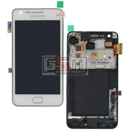 Дисплей для Samsung I9105 Galaxy S2 Plus, белый, с сенсорным экраном (дисплейный модуль), с рамкой