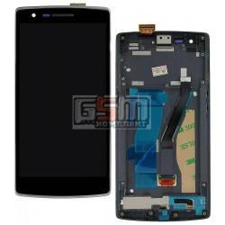 Дисплей для OnePlus One, черный, с сенсорным экраном (дисплейный модуль), с передней панелью
