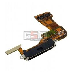 Шлейф для Apple iPhone 3GS, черный, коннектора зарядки, с компонентами