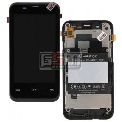 Дисплей для Prestigio MultiPhone 4020 Duo, черный, original, с сенсорным экраном (дисплейный модуль), с передней панелью