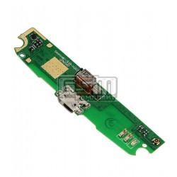 Шлейф для Lenovo S820e, коннектора зарядки, с компонентами, (плата зарядки)