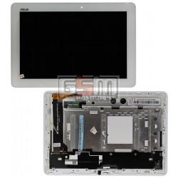Дисплей для планшета Asus MeMO Pad 10 ME102A, белый, с сенсорным экраном (дисплейный модуль), с рамкой, #B101EAN01.1/MCF-101-0990-01-FPC-V4.0