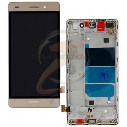Дисплей для Huawei P8 Lite (ALE L21), золотистый, с сенсорным экраном (дисплейный модуль), с передней панелью