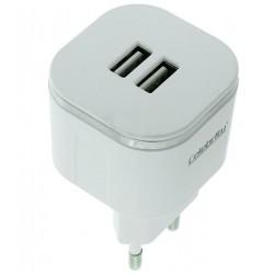 ЗарядноеустройствоCelebrity,2.4A,двапортаiOS/Android,белое(W-001)