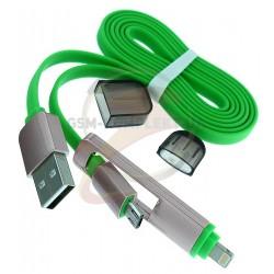 USB дата кабель micro USB / lightning, 2 in 1, универсальный, плоский,
