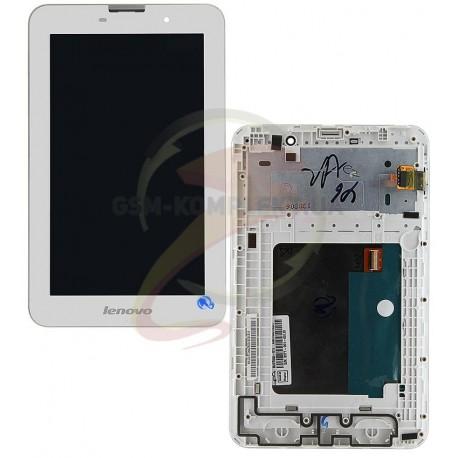 Дисплей для планшета Lenovo IdeaTab A3000, белый, с сенсорным экраном (дисплейный модуль), с рамкой