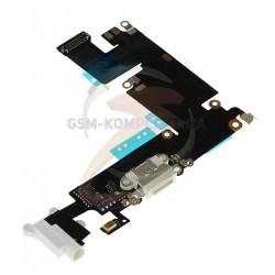 Шлейф для Apple iPhone 6 Plus, белый, коннектора зарядки, коннектора наушников, с компонентами, с микрофоном