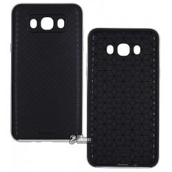 Чехол Ipaky для Samsung Galaxy J710, силиконовый, пластиковая рамка, серебро