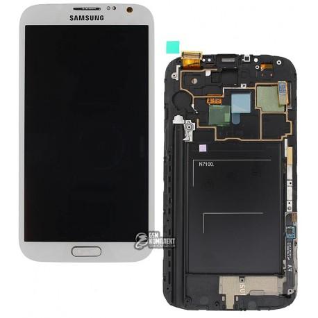 Дисплей для Samsung N7100 Note 2, белый, с сенсорным экраном (дисплейный модуль), с передней панелью