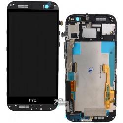 Дисплей для HTC One M8, черный, с сенсорным экраном (дисплейный модуль), с передней панелью