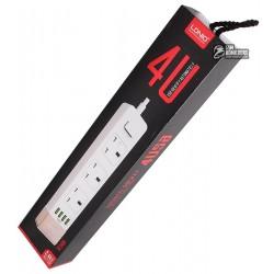Удлинитель Ldnio SK3460 UK, 10A, длина шнура: 1.6m, 4 usb port, 2.4A