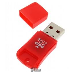 Кард-ридер USB to microSD, красный
