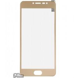 Закаленное защитное стекло для Meizu M3 Note, 0,26 mm 9H, 3D золотое, пластиковая рамка
