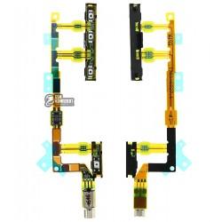 Шлейф для Sony D5803 Xperia Z3 Compact Mini, D5833 Xperia Z3 Compact Mini, кнопки включения, боковых клавиш, с вибро, с компонен