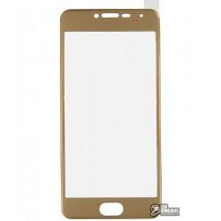 Закаленное защитное стекло Meizu M3 Mini, 0,26 mm 9H, 3D золотое, пластиковая рамка