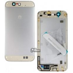 Задняя панель корпуса для Huawei Ascend G7, серебристая, без лотка SIM-карты, с боковыми кнопками