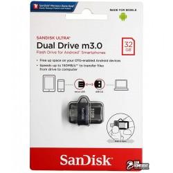 Флешка 32Gb, SanDisk Ultra, USB3.0 + OTG MicroUsb