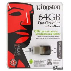 Флешка 64Gb, Kingston Data Traveler, USB + OTG MicroUsb