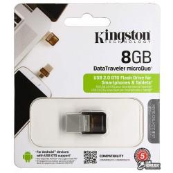 Флешка 8Gb, Kingston Data Traveler, USB + OTG MicroUsb