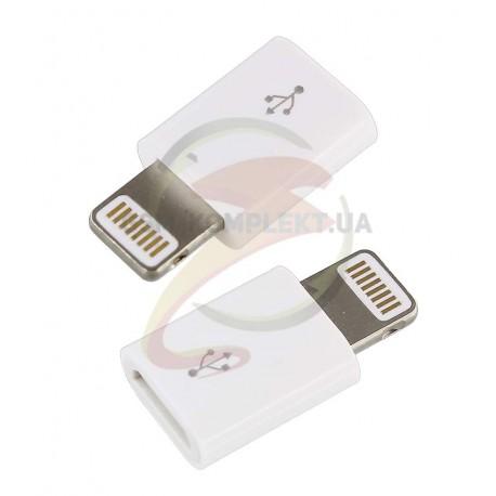 Переходник с micro USB на iPhone Lightning,белый