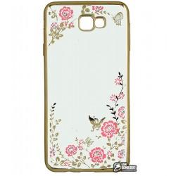 Чехол защитный Secret Garden Swarovski для Samsung J7 Prime Galaxy G610F, силиконовый, золотой рамка, розовый цветок