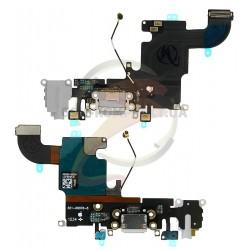 Шлейф для Apple iPhone 6S, серый, коннектора зарядки, коннектора наушников, с компонентами, с микрофоном