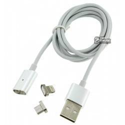 Кабель 2 в1 Lightning + microUSB, Metal Magnetic, магнитный, 1 метр, 2A, серебро