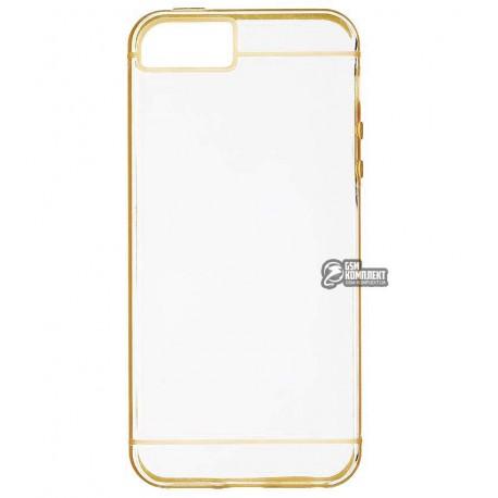 ЧехолзащитныйдляiPhone5/5S, силиконовый, прозрачный с рамкой
