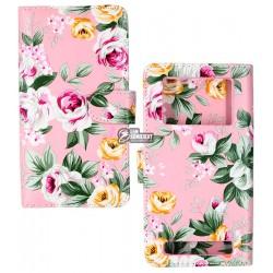 Чехол книжка, универсальная 5XXL белый цветок