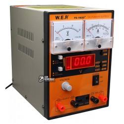Лабораторный блок питания WEP PS-1502D+ 15V 2A, цифровая/аналоговая индикация, RF индикатор, тестер, автовосстановление полсле К