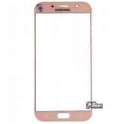 Стекло корпуса для Samsung A720F Galaxy A7 (2017), розовое