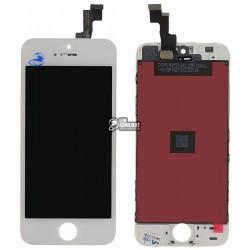 Дисплей iPhone 5S, белый, с рамкой, с сенсорным экраном (дисплейный модуль),copy