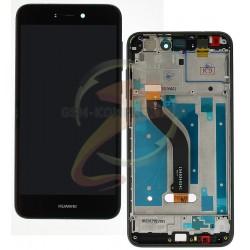 Дисплей для Huawei P8 Lite 2017, черный, с рамкой, с сенсорным экраном