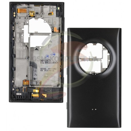 Задняя панель корпуса для Nokia 1020 Lumia, черная, с боковыми кнопками, полная