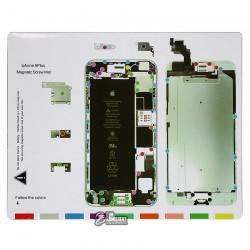 Магнитный коврик для ремонта iPhone 6 Plus, с картой винтов и запчастей
