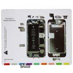 Магнитный коврик для ремонта iPhone 6s, с картой винтов и запчастей