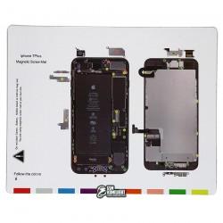 Магнитный коврик для ремонта iPhone 7 Plus, с картой винтов и запчастей