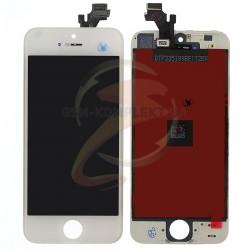 Дисплей iPhone 5, белый, с сенсорным экраном (дисплейный модуль),с рамкой, original (PRC)
