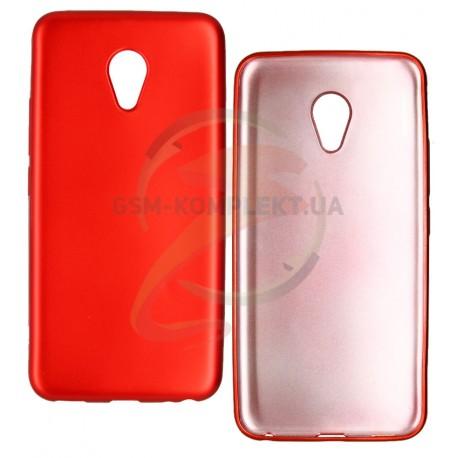 Чехол защитный для Meizu M5, матовый силиконовый, красный