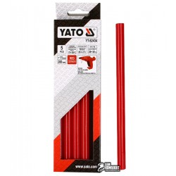 Термоклей красный Yato YT-82434, D 11.2 мм, длинна 20 см, 5 шт