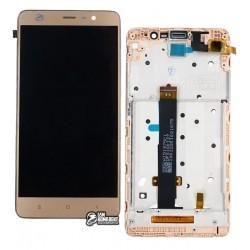 Дисплей для Xiaomi Redmi Note 3 Pro, золотистый, с сенсорным экраном (дисплейный модуль),с рамкой, original (PRC)